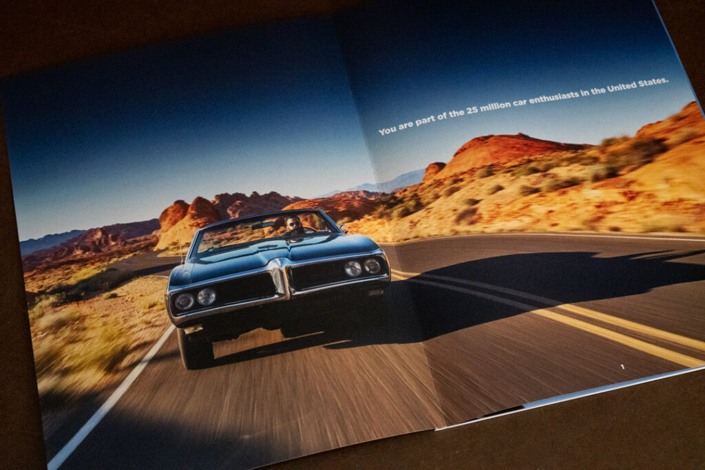 On this page of the Piston Foundation Mission Book the headline reads, You are part of the 25 million car enthusiasts in the United States.
