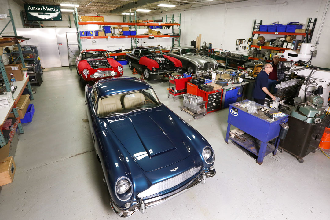 Aston Martins being worked on at Steel Wings.